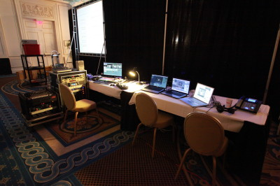 Behind-the-scenes set-up for a live, multi-camera webcast from a hotel.
