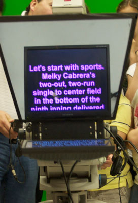 Photo of a teleprompter as an actor sees it.