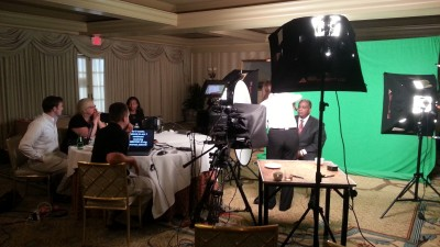 Green screen shoot in New Orleans with teleprompter.