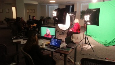 On location for green screen at a pharmaceutical company in one of their conference rooms.