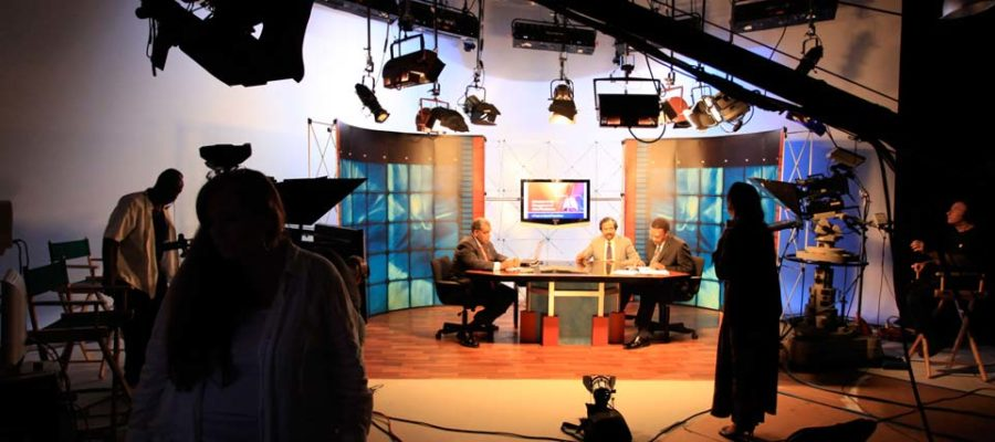 Roundtable discussion in Studio B