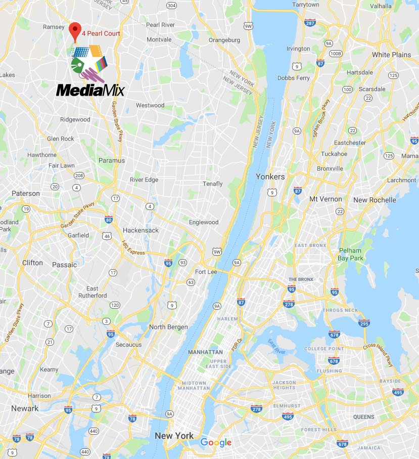 Map overview of how close MediaMix Studios is to New York City