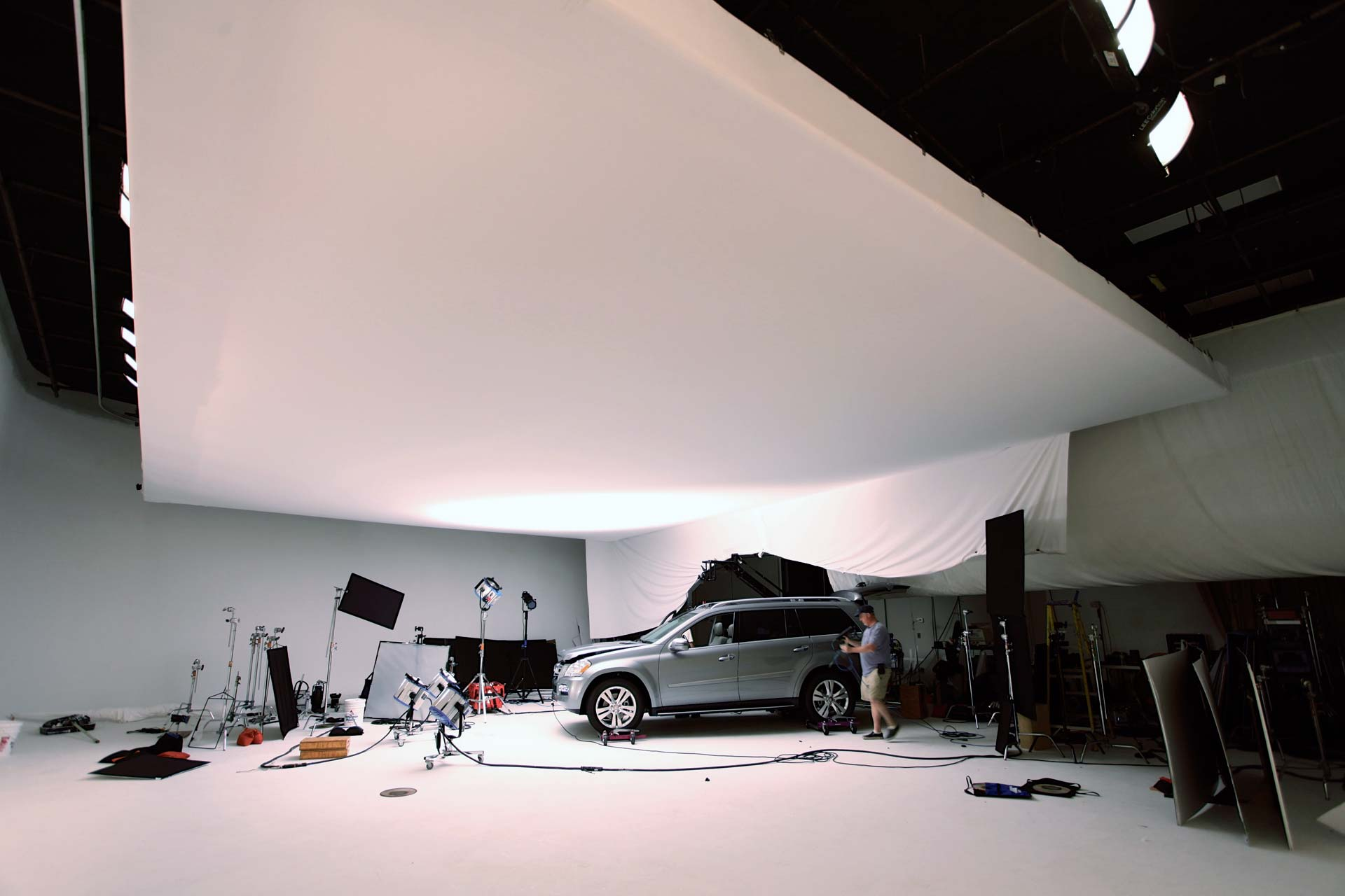 Production Photo of a Mercedes SUV in Studio A at MediaMix Studios
