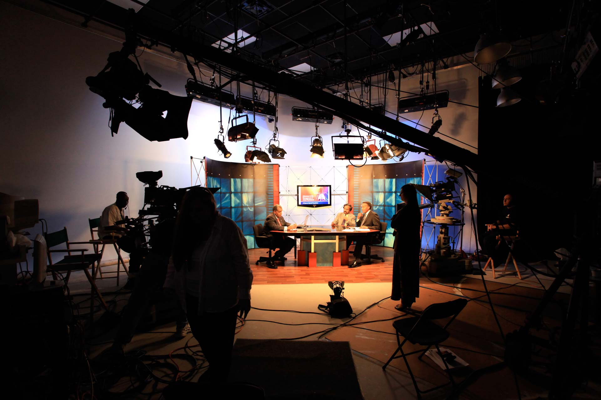Production Photo of a Talk Show Set in Studio B